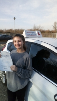 Well done Alicia for passing at your 1st attempt with our driving school.