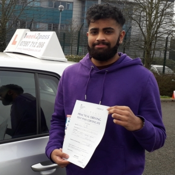 Nibil passed at Enfield with 1week2pass driving school